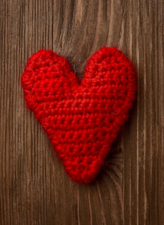 Love heart on wooden texture background, valentines day card concept