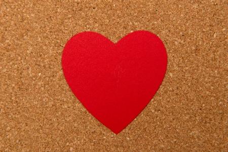 pressured: Love heart on pressured cork texture background, valentines day card concept Stock Photo