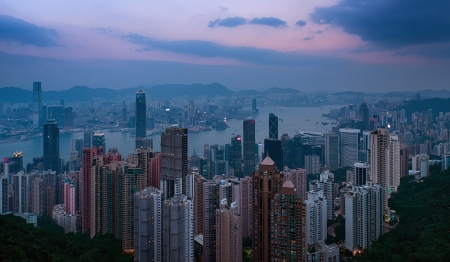 Hong Kong skyline from Victoria Peak at sunset Stock Photo