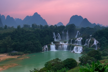 Detian Waterfall at sunset in Guangxi, China