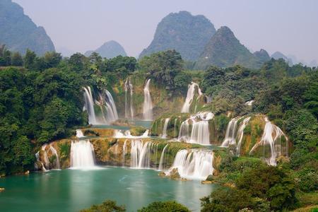 waterfall in forest: Ban Gioc - Detian Waterfall in Guangxi, China