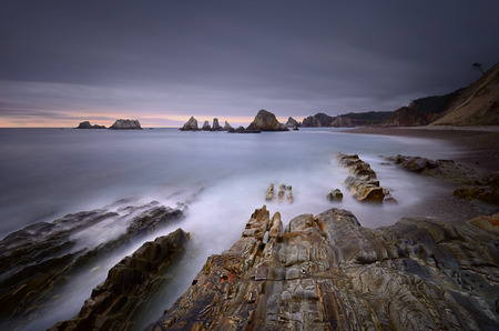 Gueirua beach at sunset. A beautiful beach. Asturias, Spain. Stock Photo
