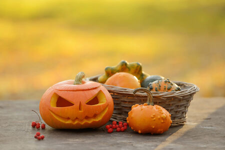 Halloween pumpkin on wooden planks with blur background Stock Photo