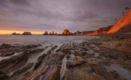 Gueirua beach at sunset. A beautiful beach. Asturias, Spain. Zdjęcie Seryjne