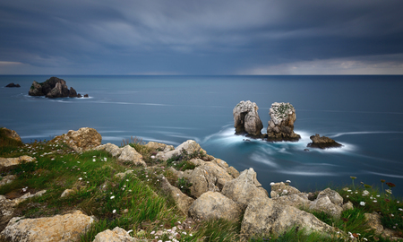 the rocky coasts of northern Spain, Los Urros. Stock Photo