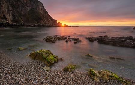 Gueirua beach at sunset. A beautiful beach Asturias, Spain.