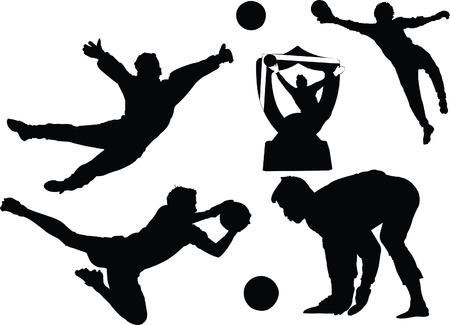 goal keeper: Goal keeper silhouettes illustration