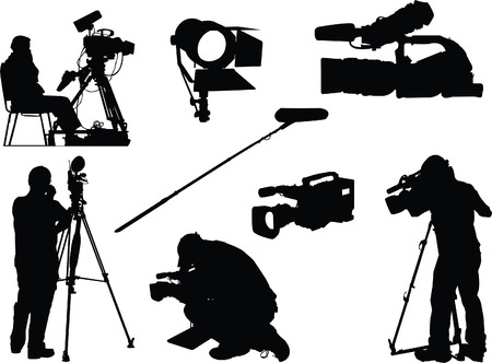 electronic survey: cameraman and film objects  Illustration