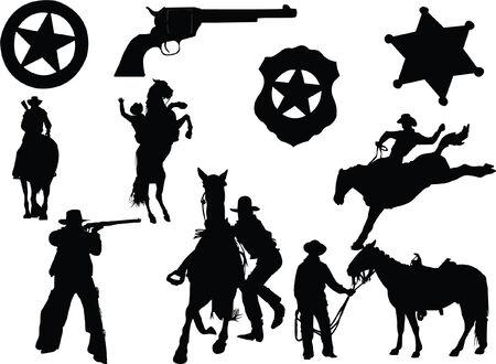 cowboy sheriff Rifle  Vector