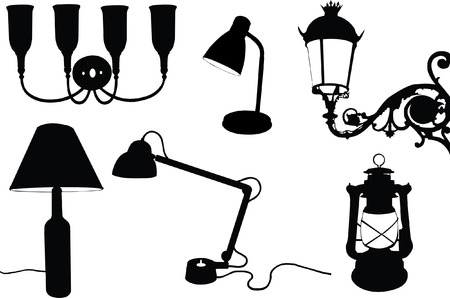 collection of lamps silhouette  Vector