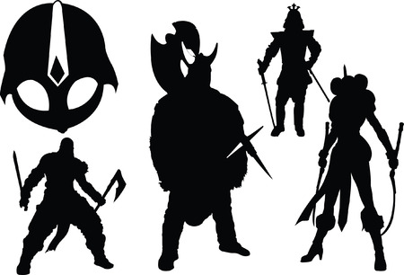 collection of isolated fighters silhouette and mask warriors