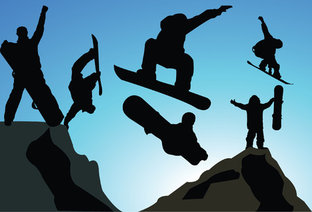 snowboard: jumping snowboarder silhouette