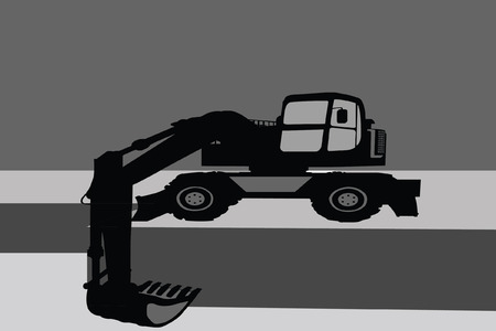 Mechanical digger silhouette  Vector