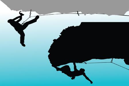 bergsteiger: Rock-Kletterer-Silhouette-Auflistung  Illustration