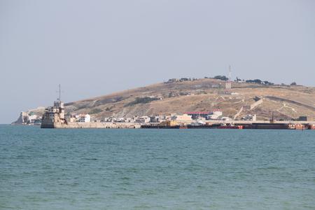 sea seaport: Seaport on the Black Sea in Crimea. Evening Stock Photo