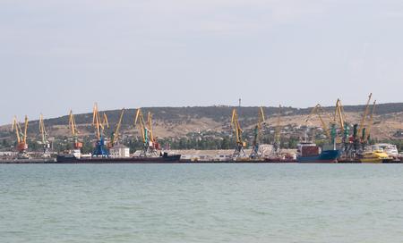 sea seaport: Cranes in the seaport on the Black Sea. Crimea