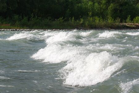 himalaya: Waves on a mountain river in summer. Caucasus