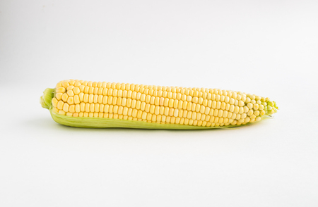 Yellow corn on a white background. Isolated