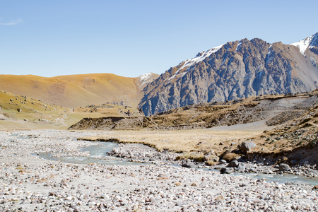 Landscape panorama caucasus mountain with autumn hills daytime