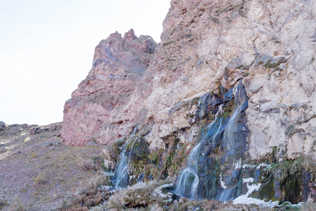 Landscape panorama caucasus mountain with autumn hills daytime waterfall