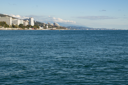 View of the city coast from the sea daytime