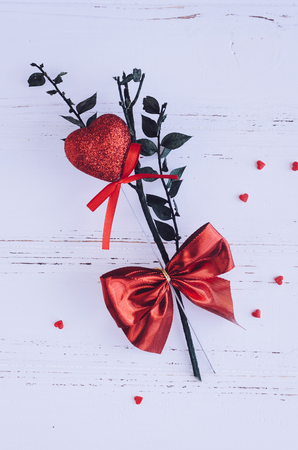 14: Red heart on white shabby chic background. Valentines Day theme. Romantic love Valentines concept. Stock Photo