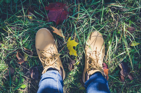 Casual unisex boots with colorful autumn fallen leaves. Autumn fall scene. Conceptual image of legs in boots and jeans on the autumn leaves. Lifestyle Fashion trendy style. Top view. Copy space. Stock Photo