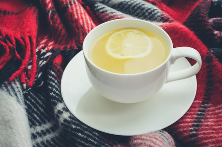 Cup of tea with lemon on red warm woolen blanket. Hot drink for cold rainy days. Danish hygge concept, autumn mood. Cozy winter morning at home. Warm and comfy fall weekend. Relaxing in cold weather.