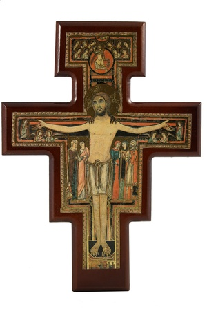 st  francis: Replica of the crucifixion of Jesus Christ on the holy cross of St  Francis in Assisi Italy isolated on white background Stock Photo
