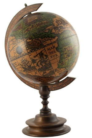 Replica of antique representation of the globe with ancient names for lands and seas isolated on white background photo
