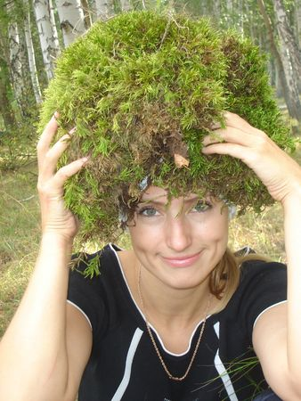 girl with a moss on a head