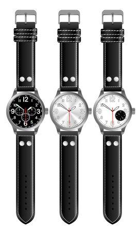 mans watch: Tres horas hombre en un fondo blanco  Foto de archivo