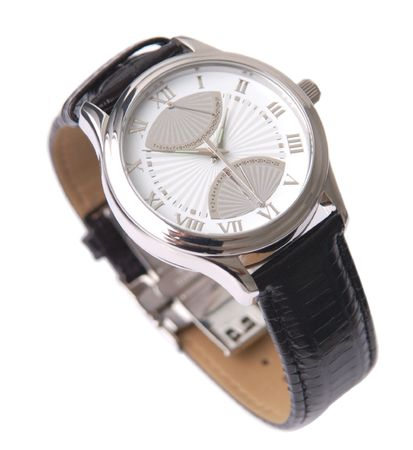 Beautiful wristwatch on a white background