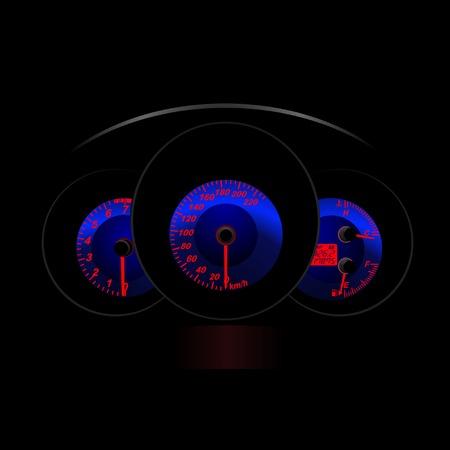 Il cruscotto della vettura durante la notte. Vettore  Vettoriali