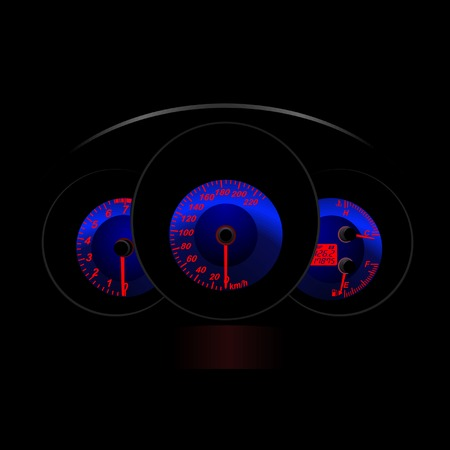 kilometer: The dashboard of the car at night. Vector Illustration