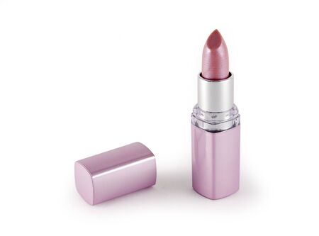 The open tube with pink lipstick on a white background Stock Photo