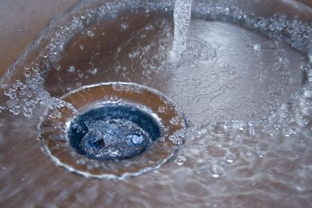 Kitchen sink with drops of water