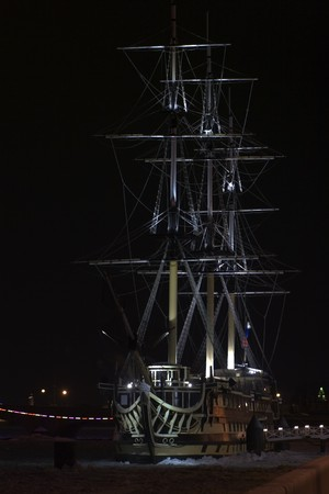 cordage: sailboat in the harbor at night