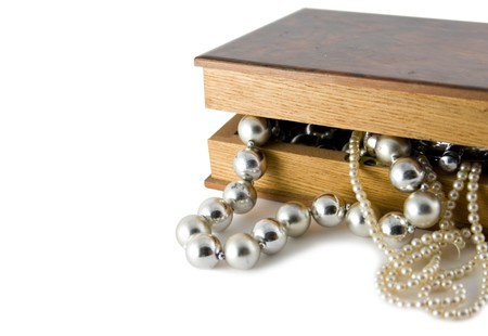 old box witch beads on white Stock Photo