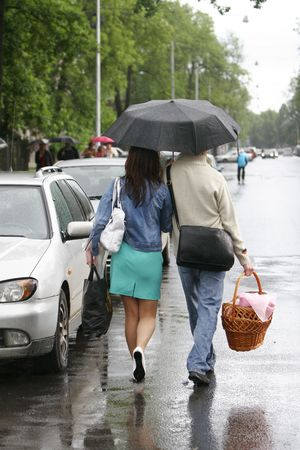 love in rain: Two are on the street