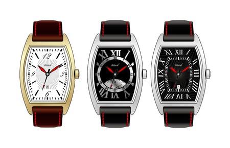 Three man's watchs.  Illustration