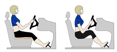 Posición correctamente y mal al volante del coche Ilustración de vector