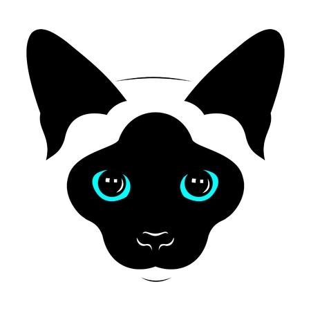 siamese: Leiter der siamesische Katzen. Vektor Zeichnung