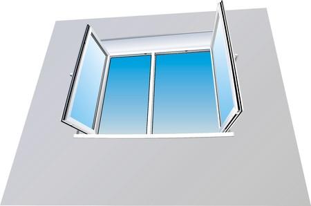 Open window with a heavenly landscape