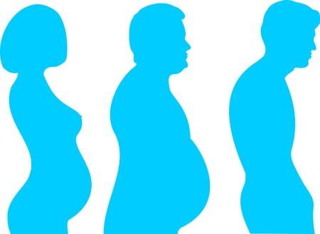 bosom: Siluetas de personas con problemas de columna vertebral Vectores