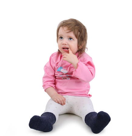smeared baby: Labios al beb� manchado en la leche Foto de archivo