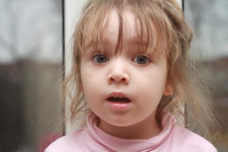 Surprised girl. Clouse up. Portrait