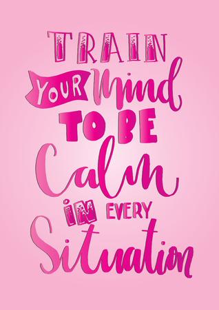 La letteratura a mano ti aiuta la tua mente a calmarsi, in ogni situazione. Calligrafia moderna. Quotazione motivazionale ispiratrice motivativa. Citazione del Buddha Archivio Fotografico - 81618363