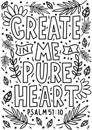 Create In Me A Pure Heart quote Lettering. Psalms Quote. Hand Lettered Bible quote. Handwritten Inspirational Motivational Quote. Modern Calligraphy
