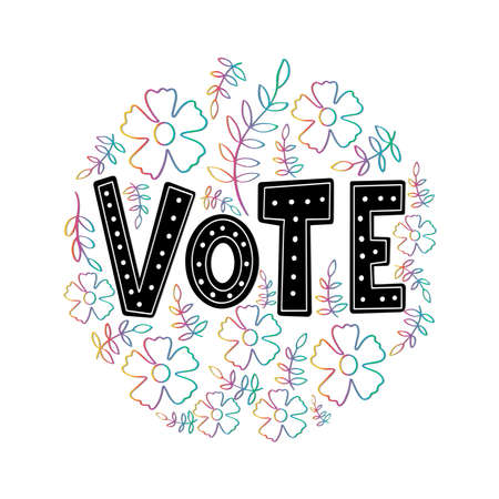 Vote. Hand Lettered Of Vote. Handwritten Inspirational Motivational Quote. modern Calligraphy